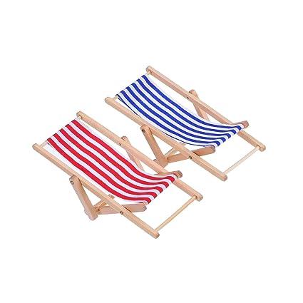LEEQ 2 Piezas 1: 12 Miniatura Plegable Silla de Playa de ...