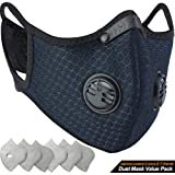 BASE CAMP Dust Breathing Mask Activated Carbon Dustproof Mask with Extra Carbon N99 Filters for Pollen Allergy Woodworking Mowing Running Cycling Outdoor Activities (Blue)