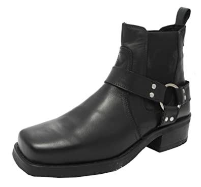 a910c3c9c0f Mens Harley Biker Cowboy Ankle Harness Boots Brown or Black Leather Sizes  7-12
