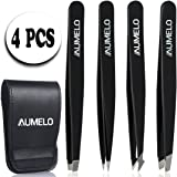 Tweezers Set - 4 Pcs Precision Eyebrow Tweezer Gift with Leather Travel Case by AUMELO