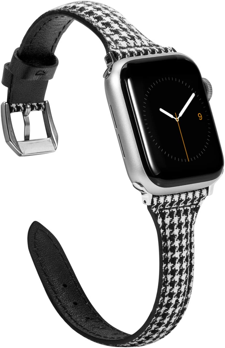 Wearlizer Slim Compatible with Apple Watch Bands 38mm 40mm for iWatch SE Strap Womens Mens Top Grain Leather with Canvas Grid Wristbands Thin Leisure Replacement(Silver Buckle) Series 6 5 4 3 2 1