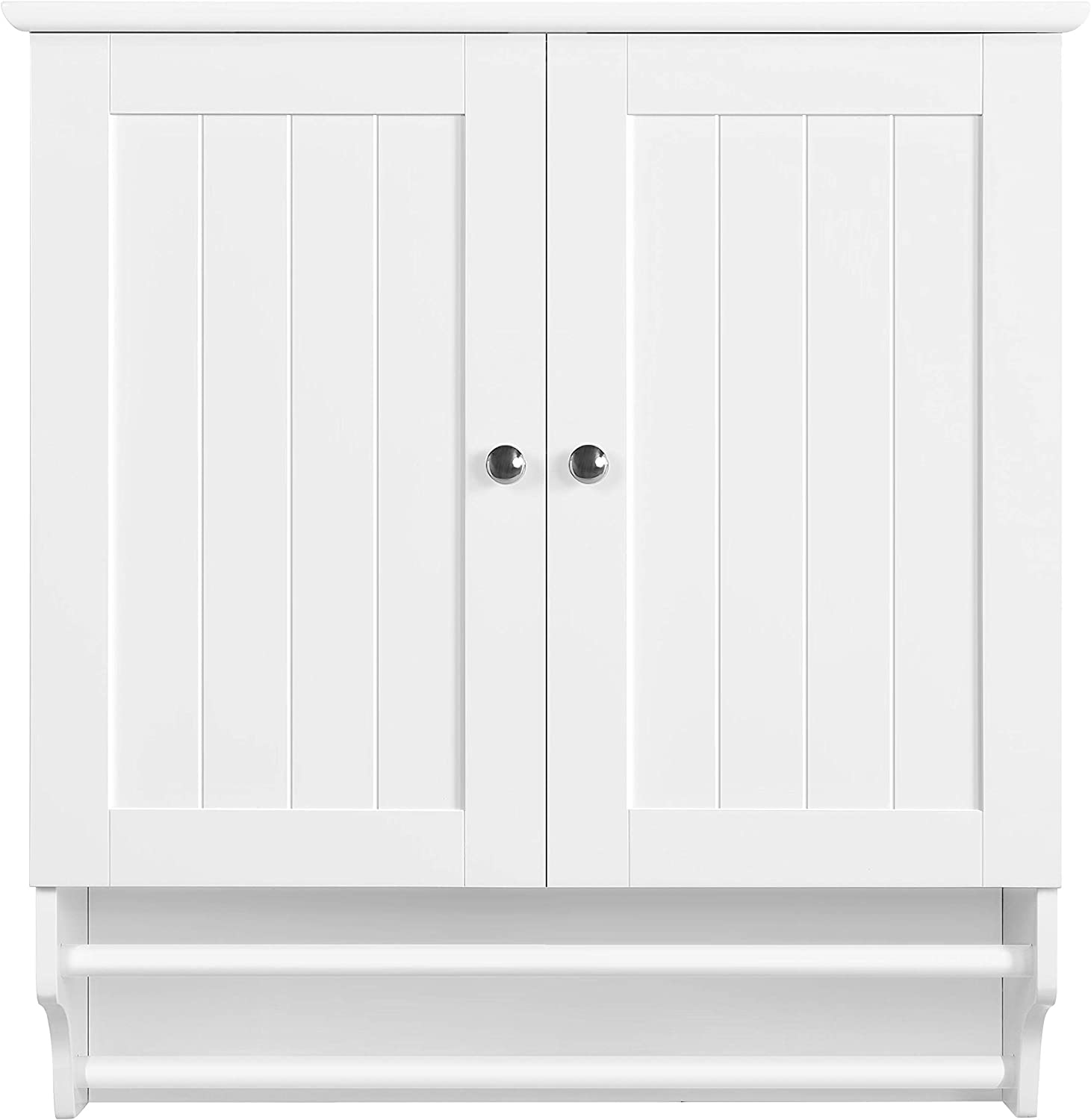 Amazon Com Topeakmart Bathroom Kitchen Wall Storage Cabinet Cupboard With Double Doors And Adjustable Shelf Wall Mounted Medicine Cabinet Hanging Organizer White Home Kitchen