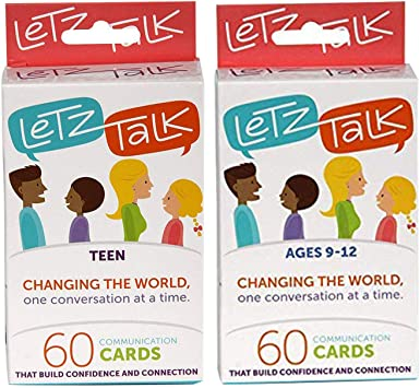 Letz Talk Change The World 60 Juego de Cartas de comunicación 2 en 1 para niños