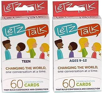 Letz Talk Change The World 60 Juego de Cartas de comunicación 2 en 1 para niños de 9 a 12 años y Adolescentes – Terapia, Habilidades sociales, Juegos de Asesoramiento y Actividades