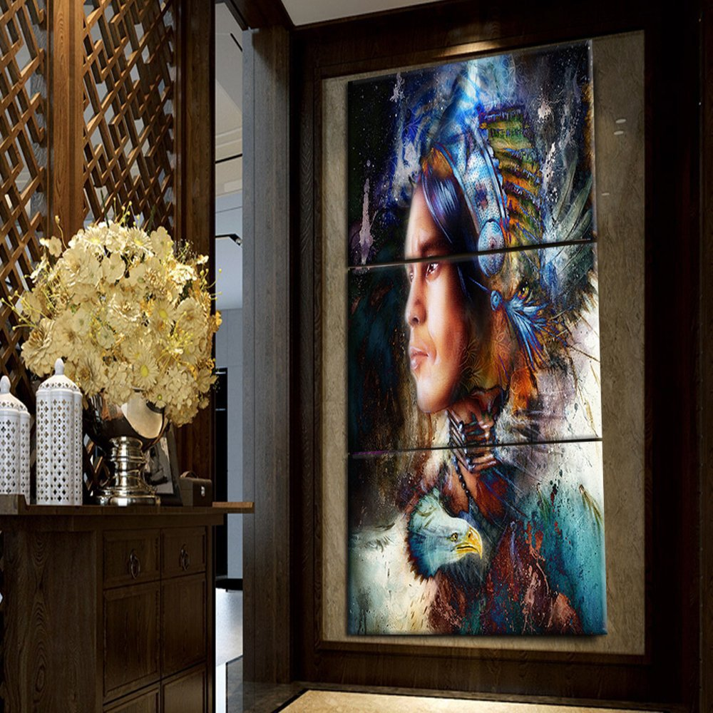 Large painting on canvas native american chief western wall art home decor indian girl for living room modern artworks posters and prints pictures 3 panel