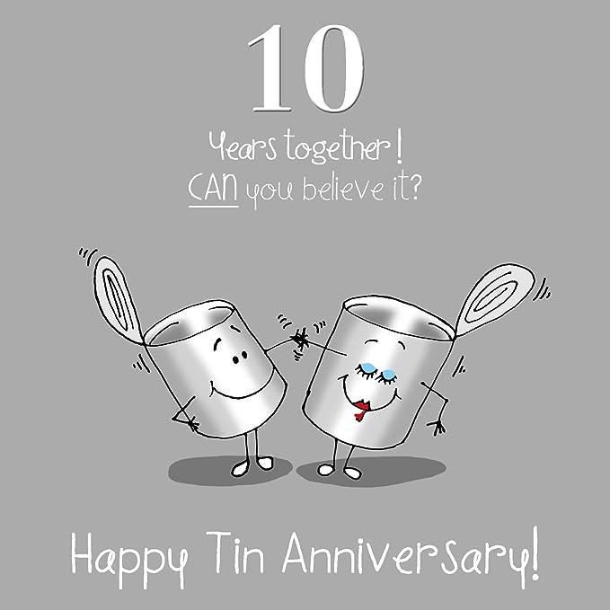 Anniversario Matrimonio Dieci Anni.Fax Potato 10th Anniversary Greetings Card Happy Tin Anniversary