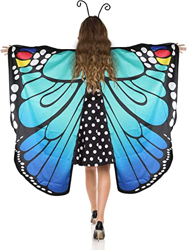 Fairy Ladies Cape Nymph Pixie Costume Butterfly Wings Shawl Halloween Cloak with Antenna Headband