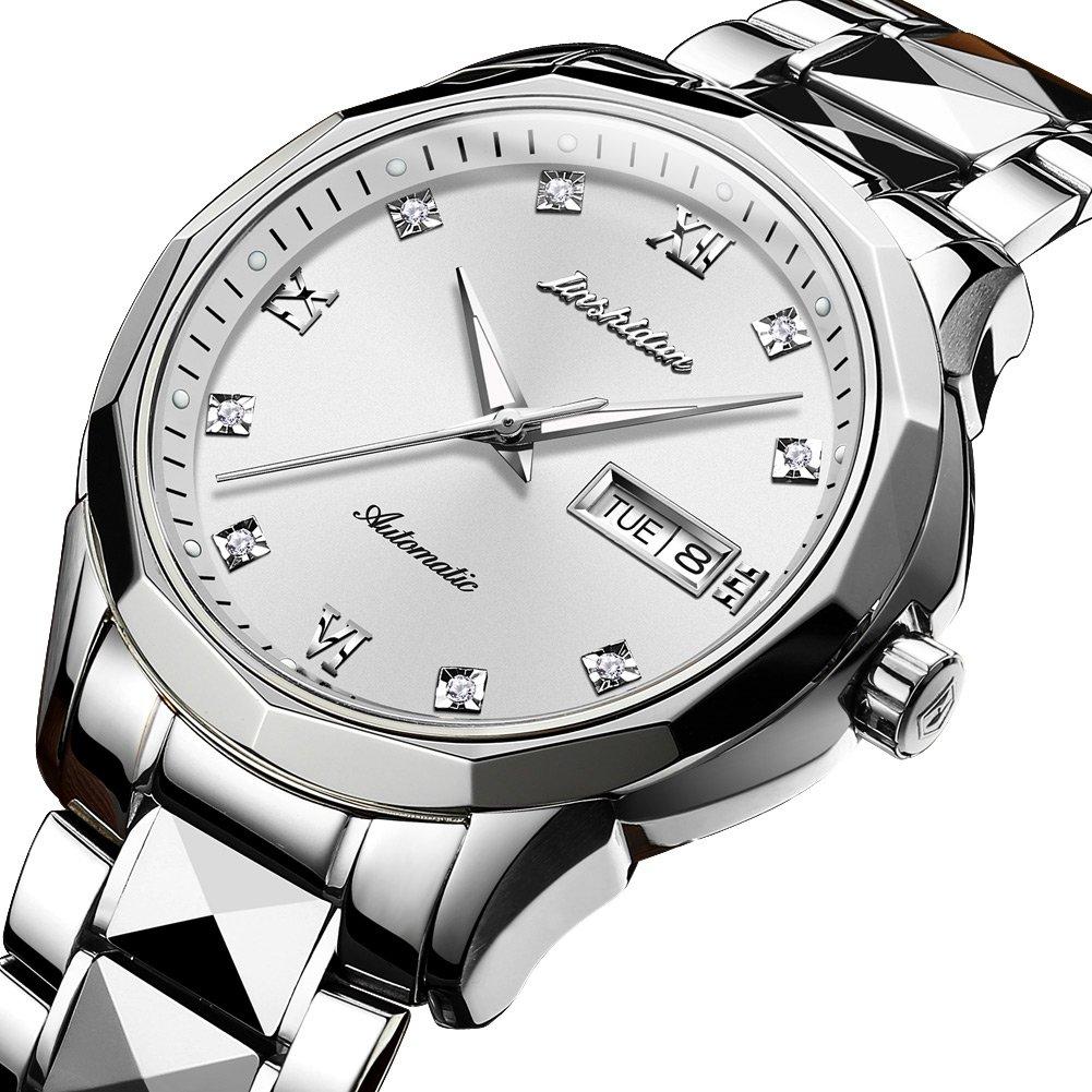 JSDUNメンズ8813ゴールドタングステンスチールツートンカラーAutomatic Watch with Diamond Shapeリンクブレスレット Silver-white B078LSL97P Silver-white Silver-white