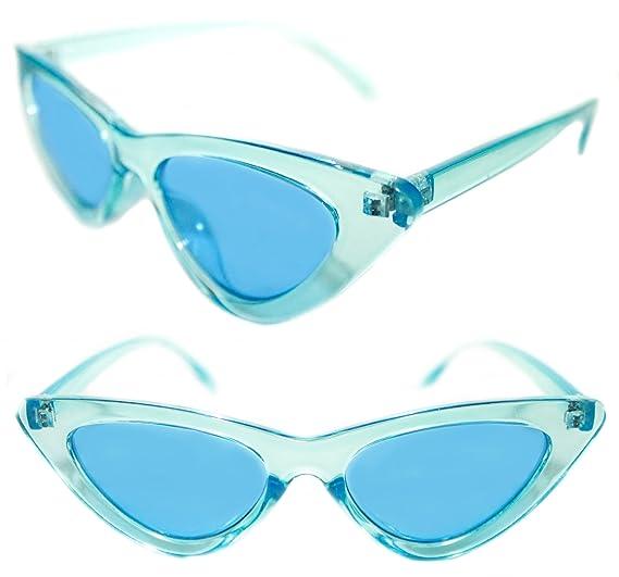 620169f82638d Women s Cat Eye 50 s Small Vintage Retro Fashion Transparent Frame Color  Lens Sunglasses