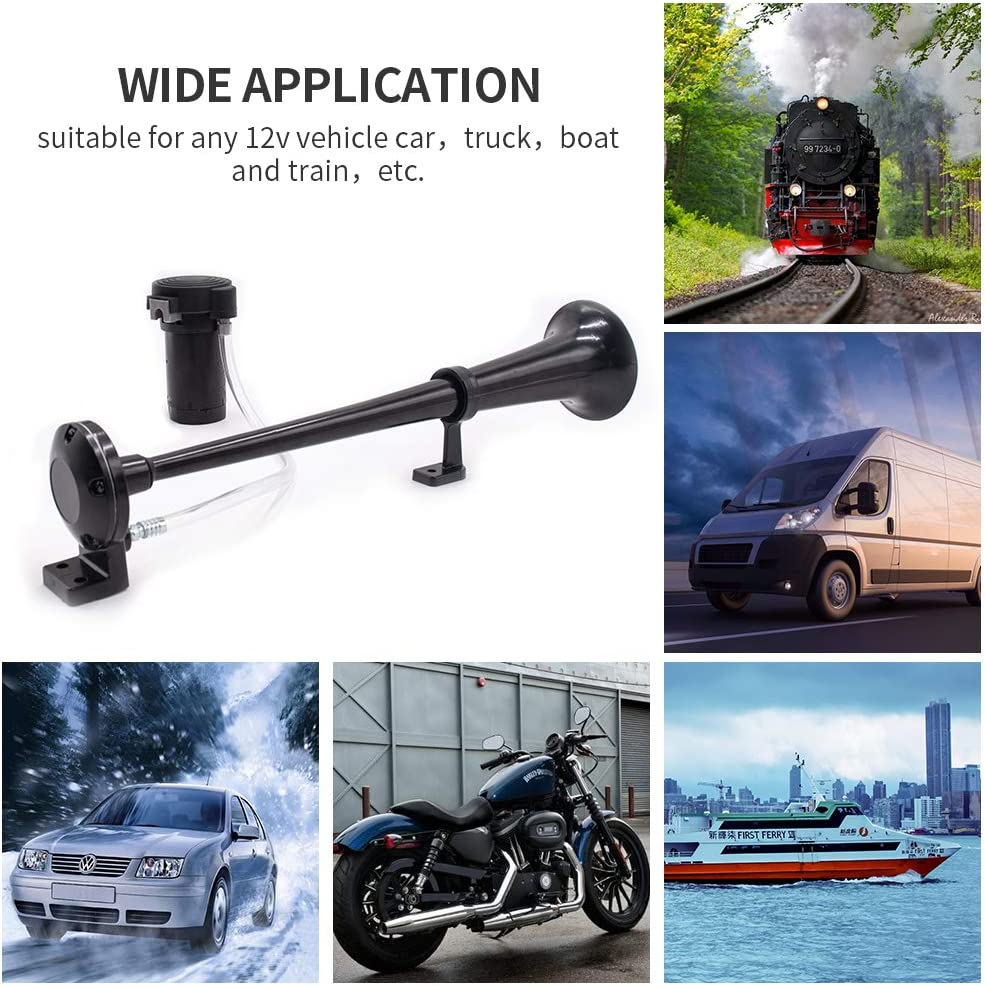 DZANKEN 12V Air Horn Single Trumpet with Compressor 17.7inches 150DB Car Air Horn Kit for Cars Truck Train Boat Motorcycle