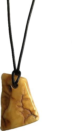 Maldija 18 Natural Butterscotch Amber Pendant on Black Cord Necklace