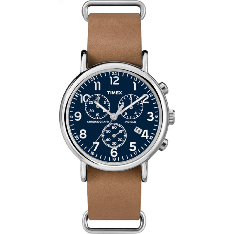 ab0a18691 Amazon.com: Timex Unisex TW2P62300 Weekender Chrono Tan Leather Slip-Thru  Strap Watch: Timex: Watches
