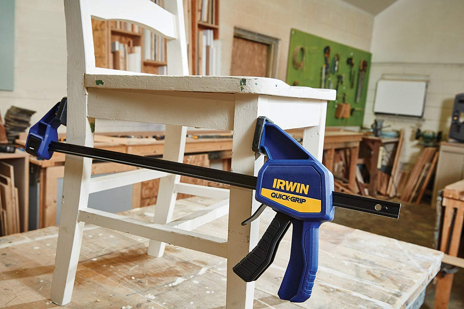 IRWIN QUICK-GRIP One-Handed Bar Clamp, Medium-Duty, 18'', 3 Pack, 1964719 by Irwin Tools (Image #6)