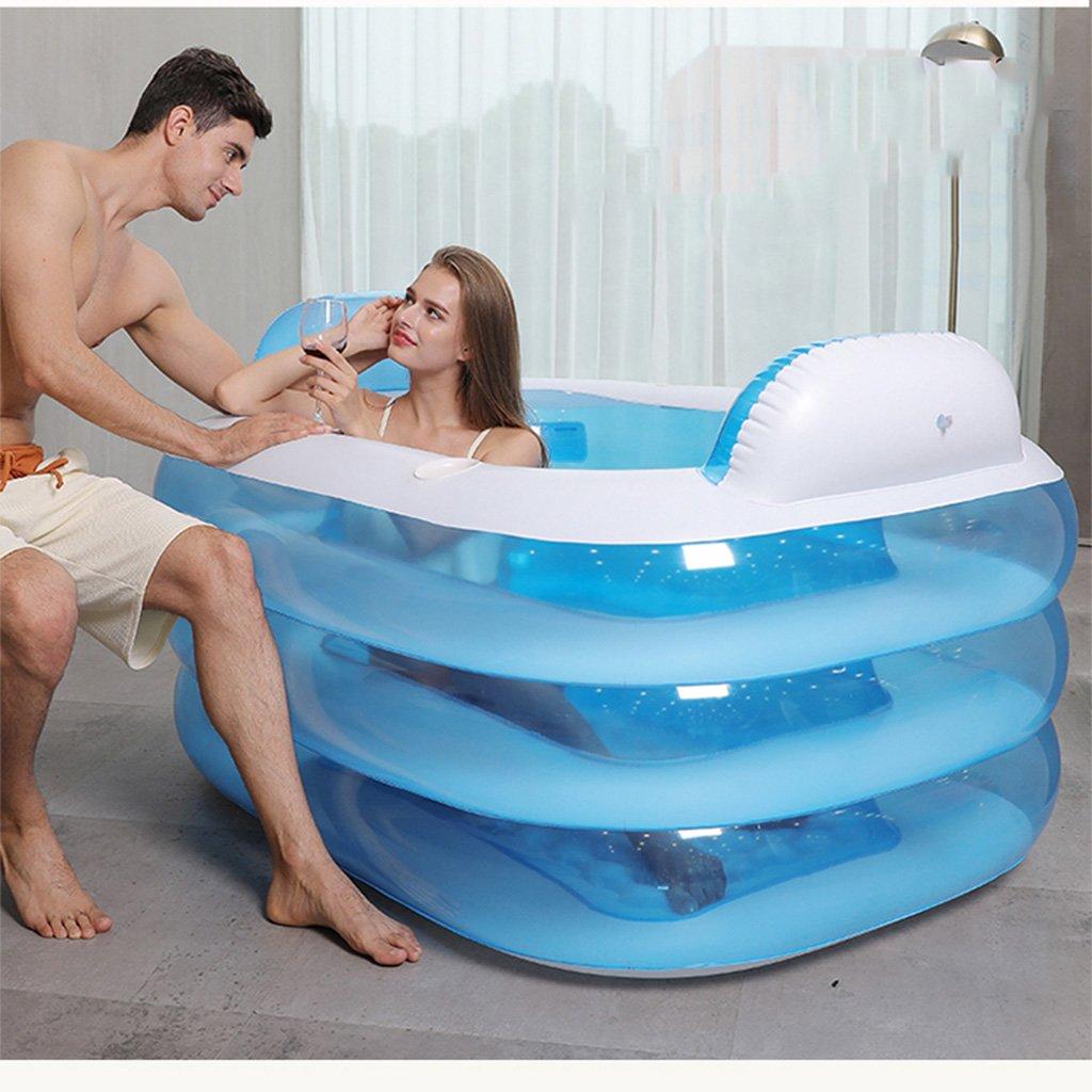 Doppel-aufblasbare Badewanne-Paar-Wanne-Wanne Erwachsene verdicken faltende Badewanne Plastikkinderbadewanne ( Design : Blue Foot pump , Size : 180*140*60 cm ) Ren Chang Jia Shi Pin Firm