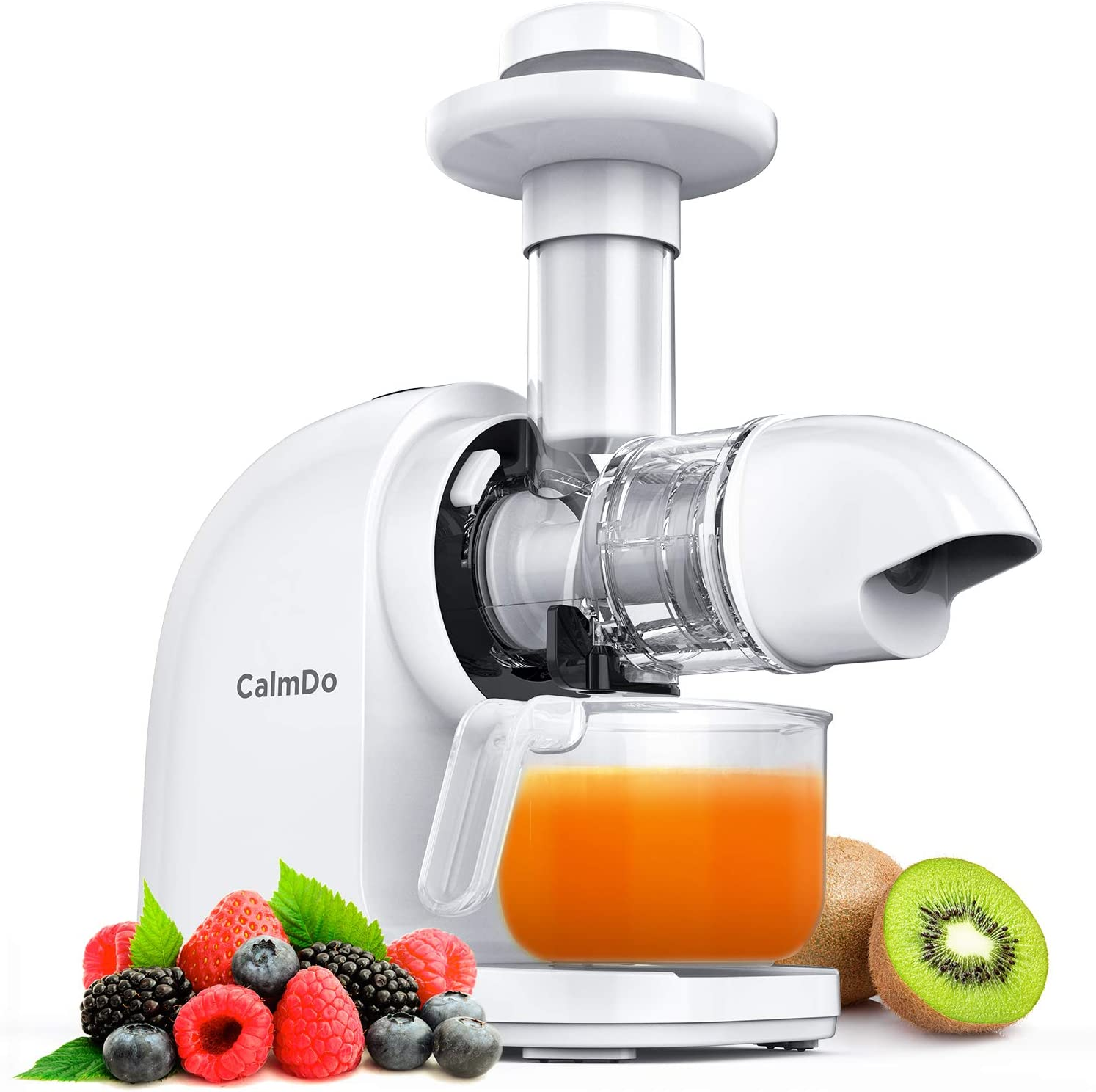 Masticating Juicer, CalmDo Slow Juicer Extractor, Cold Press Juicer with Reverse Function, Quiet Motor, Slow Masticating Juicer for Higher Nutrient and Vitamins, BPA Free