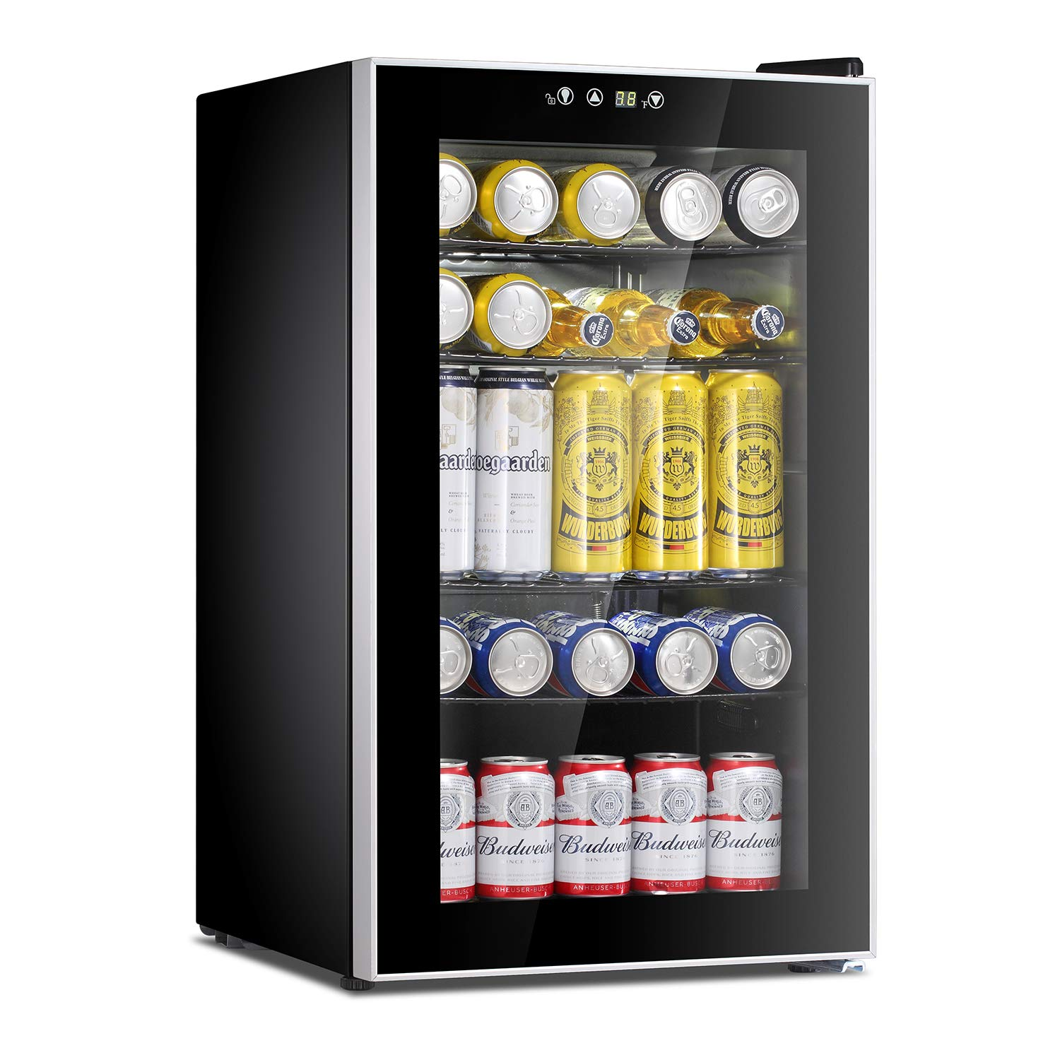 Antarctic Star Beverage Refrigerator Cooler - 85 Can Mini Fridge Glass Door for Soda Beer or Wine – Glass Door Small Drink Dispenser Machine Adjustable Removable for Home, Office or Bar, 2.9cu.ft.