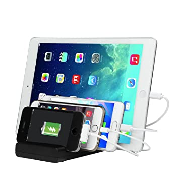 KOBWA Estación de Carga USB,Cargador Multiple Moviles Base de Carga de 4 Puertos con Carga Rápida Para Tableta, IPhone y Dispositivos Android (Negro,4 ...