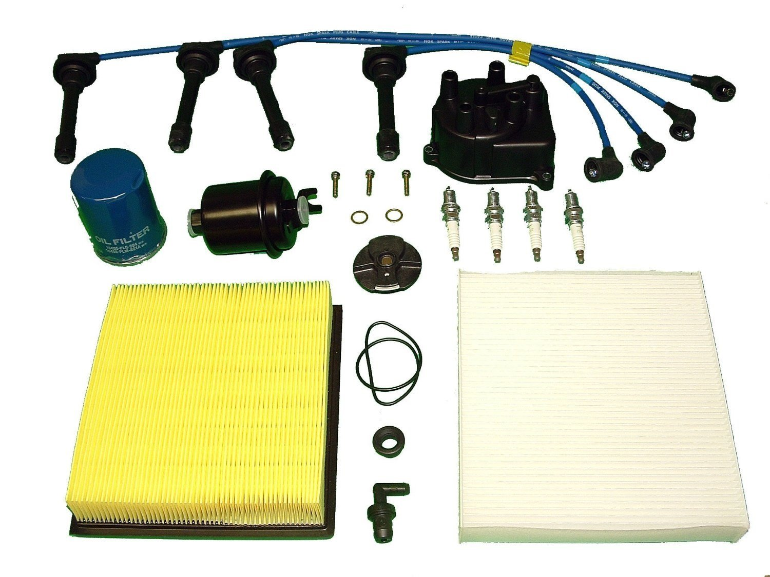Tune Up Kit Replacement ForHonda CRV 2000-2001 AIR FUEL OIL FILTERS CAP ROTOR NGK PLUGS & WIRES PCV VALVE AND PCV VALVE GROMMET by TBK Timing Belt Kit
