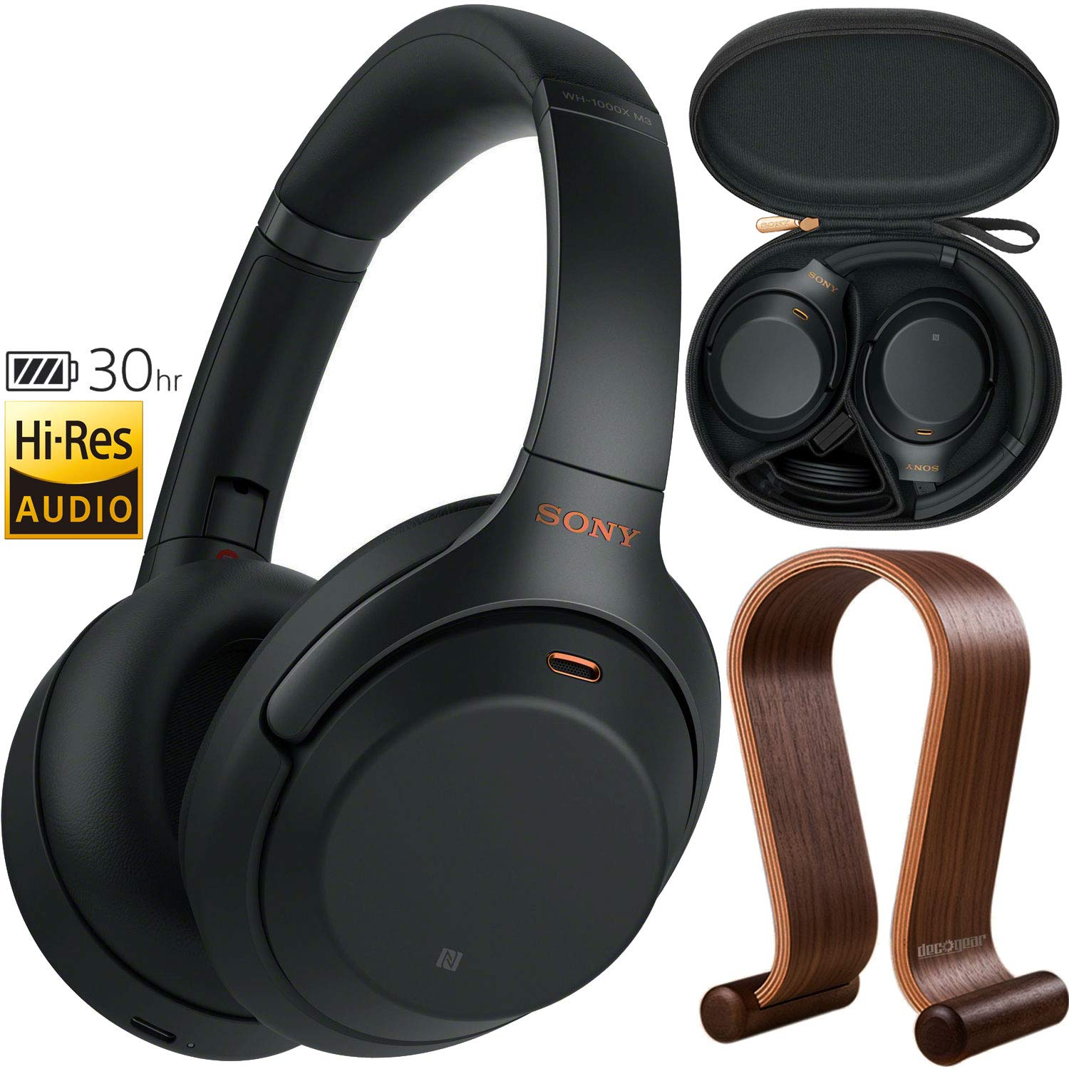 Sony WH1000XM3/B Premium Noise Cancelling Wireless Headphones w/Microphone (Black) + Wood Headphone Stand + Headphone Case