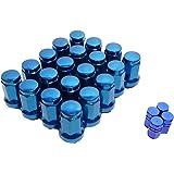 盗難防止 外七角 ホイールナット M12 P1.5 青 4穴 / 5穴 選べる6色 20個入り エアバルブ セット (ブルーP1.5)