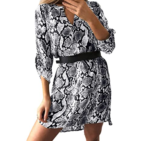 a975d825be Botón de Manga Larga para Mujer Vestido Dividido para Damas Fiesta Maxi  Informal Vestidos con Cuello