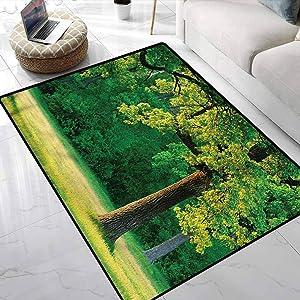 Area Rug Tree of Life,Fresh Oak Leaves Park Geometric Moroccan Rugs Environmental Protection Fabric 6 x 9 Feet