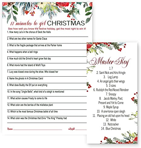 Amazon Com Holiday Floral Christmas Trivia Game Cards 25 Pack Holiday Party Supplies Guessing Activity Adults Kids Groups Family Friends Coworkers Annual Festive Events Kitchen Dining