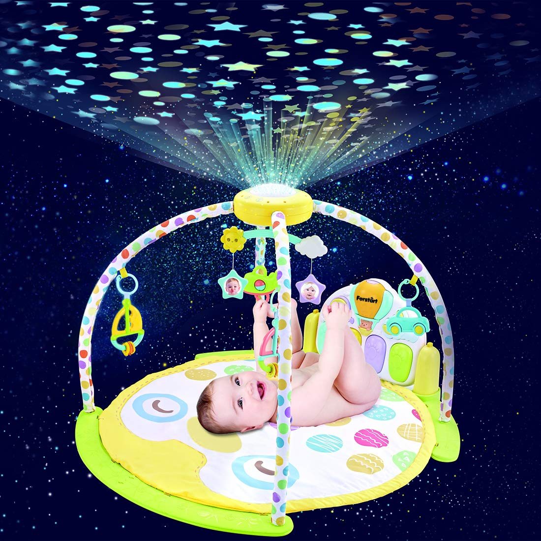 Forstart Kick and Play Piano Play Gym Night Moon Stars Light Projector Large Activity Play Mat Newborn Playmat Baby 1-18 Month Sit Lay Down Infant Tummy Time Sensory Development Educational Playtime