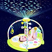 Forstart Kick and Play Piano Play Gym Night Moon Stars Light Projector Large Activity Play Mat Newborn Playmat for Baby 1-18 Month Sit Lay Down Infant Tummy Time Sensory Development Educational Playtime
