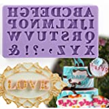 Anyana mini letters alphabet comma exclamation mark mold Fondant Mould for gum paste Sugar paste cake decorating cupcake topper decor