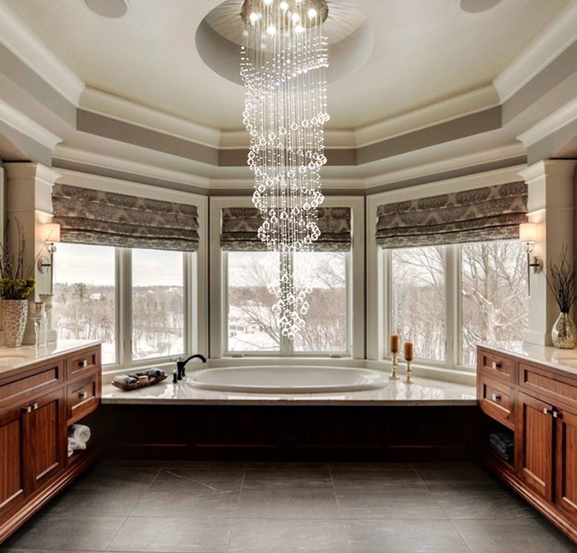 Saint Mossi Modern K9 Crystal Raindrop Chandelier Lighting Flush Mount Led Ceiling Light Fixture Pendant Lamp For Dining Room Bathroom Bedroom Livingroom