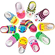 Bassion 10 Pairs Baby Socks Non Slip Newborn Infant Cute Baby Ankle Cotton Socks Skid Toddler Gripper Socks for 6-18 Months