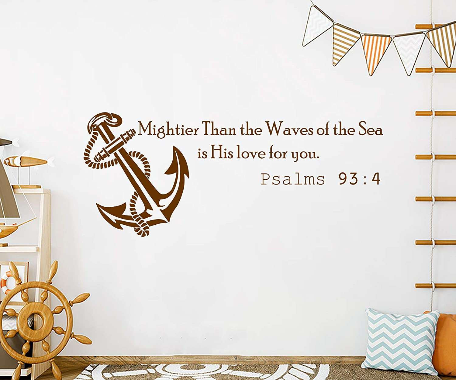 Wall Decals Quotes Vinyl Sticker Decal Quote Psalms 93:4 Mightier Than the  Waves of the Sea is His love for you Anchor Home Decor Nautical Bedroom Art  ...