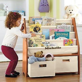 Amazon Com Kids Sling Bookshelf With Storage Bins