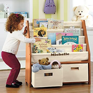 Kids Sling Bookshelf With Storage Bins