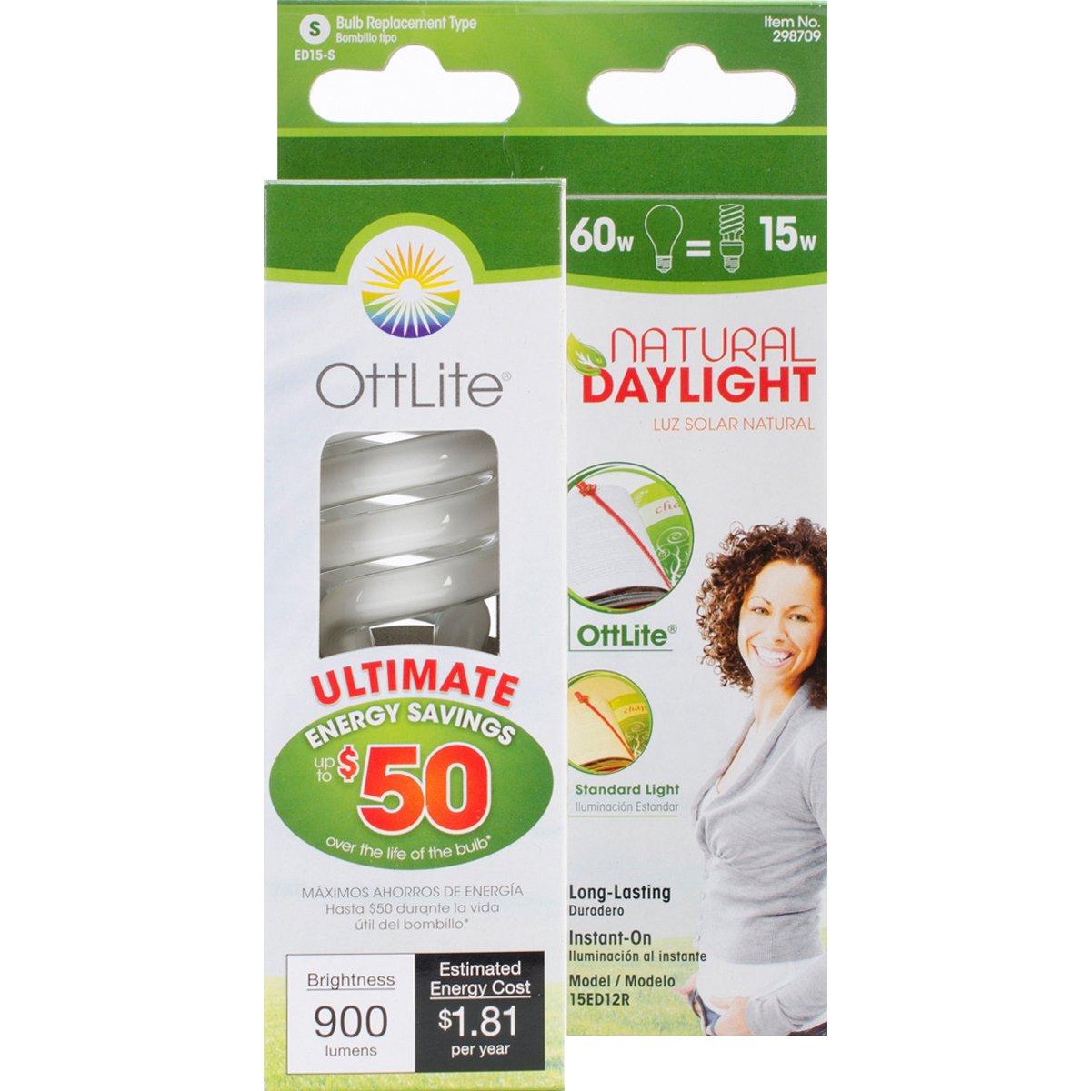 OttLite  15ED420  15W Swirl Screw in Light Bulb, Natural Light
