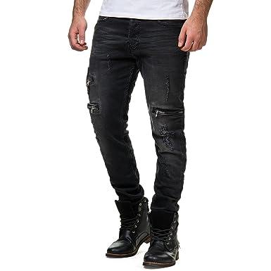 Freeside Herren Denim Jeans Hose Biker Zipper Slim Fit Destroyed Schwarz  Ballex 001, Farbe  e36c3d030f