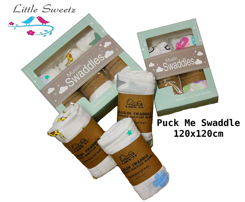 2er Pack, Set 1 Mullwindeln Little Sweetz 2er oder 3er SPARPACK ** PUCK ME Swaddle ORGANIC ** 120x120cm ** Ideal als Musselin Wickeltuch