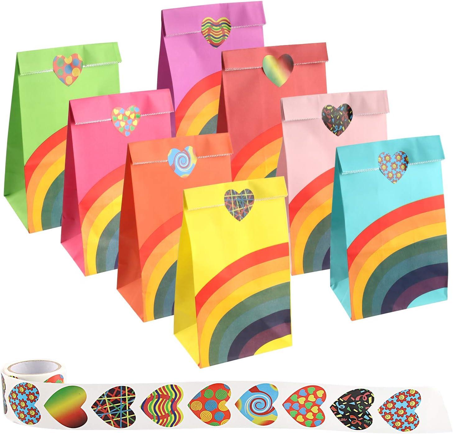 60 Pezzi Colorati Sacchetto di Carta Confetti Borse Arcobaleno Festa con Adesivi Sacchetti Bustine di Carta per bomboniere Bambini Feste Matrimonio Compleanno Mitening Sacchetti Regalo di Carta
