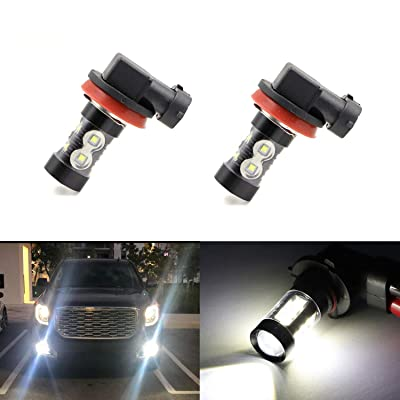 H11 H8 H16 Fog Light Bulbs LED 50W Ultra Extremely Bright 6000K 10 SMD White Xenon Low High Beam Bulbs Lamps (Pack of 2): Automotive