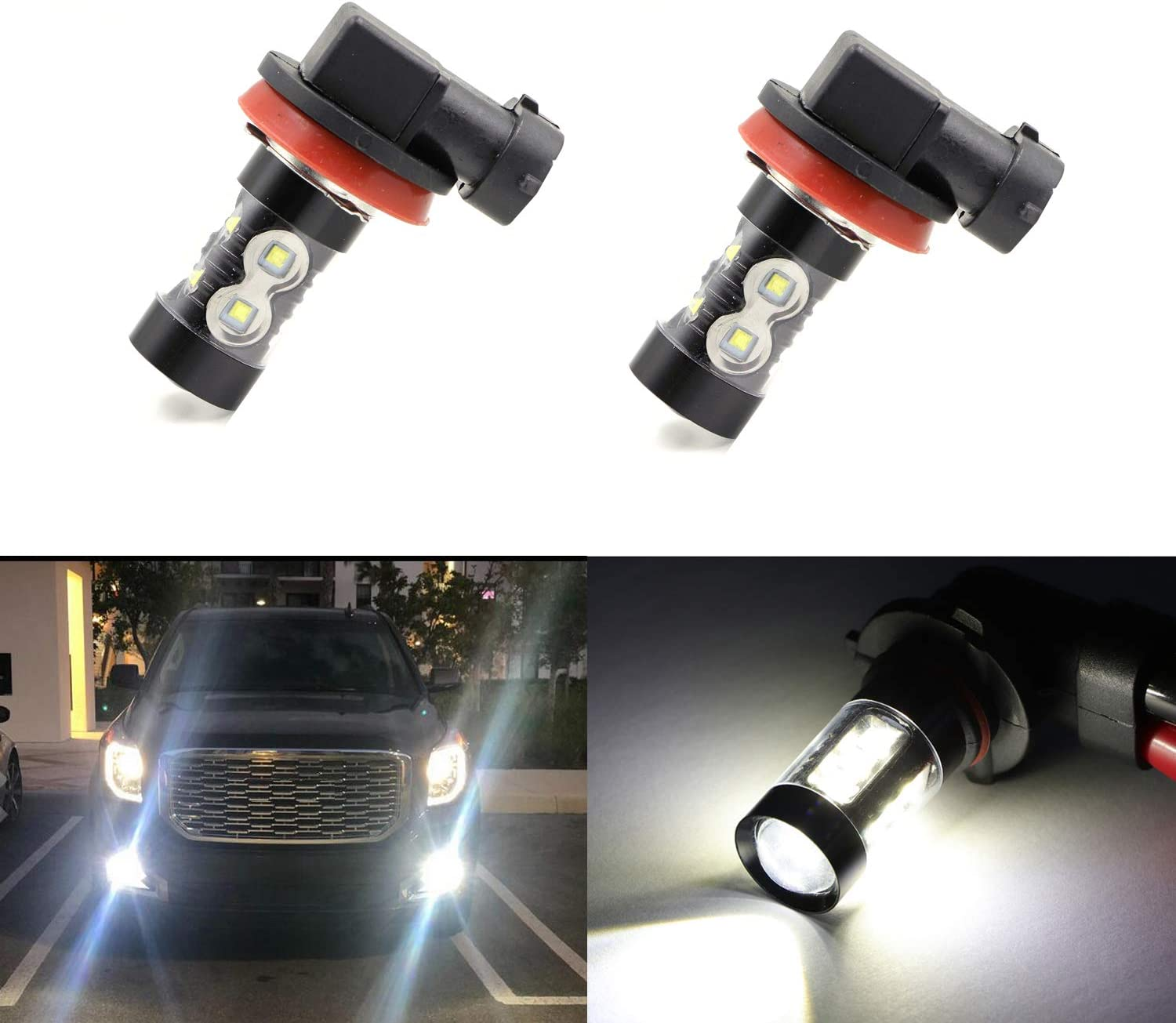 H11 H8 H16 Fog Light Bulbs LED 50W Ultra Extremely Bright 6000K 10 SMD White Xenon Low High Beam Bulbs Lamps (Pack of 2)