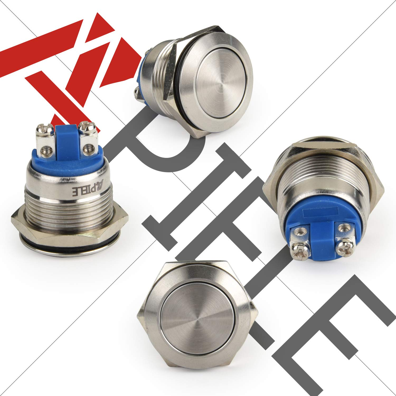 1PC 19mm waterproof silver momentary metal push button switch flat top switcN-MA