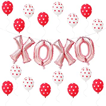 Amazoncom Valentines Day Decorations Xoxo Balloons Red And