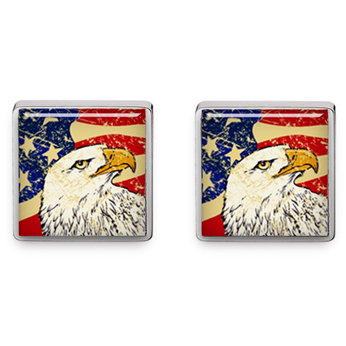 Kooer Square Bald Eagle Cufflinks American Flag Square Cuff Links Handmade Custom Personalized Wedding Jewelry (Square silver plated cufflinks)