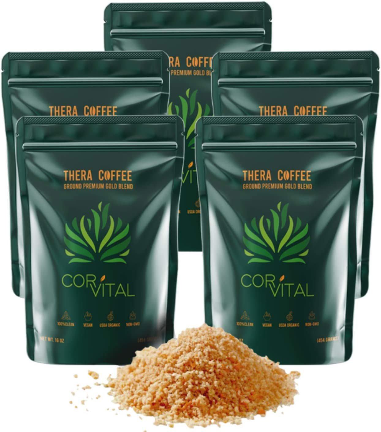 *die Real Deal* Cor-Vital 5 LBS Organic Enema Coffee Best for Coffee Enema Colon Cleanse and Detox 100% Organic Green Coffee Beans Ground w/Free Detox Recipe - Gold Roast - Gerson Approved
