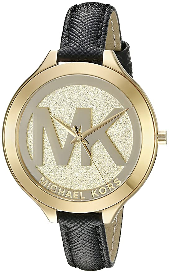 Amazon.com: Michael Kors Womens Slim Runway Merlot Leather One Size: Watches