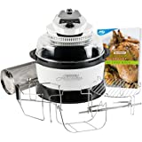 JML White Halowave Oven Aircooker Deluxe Halogen Cooking With Rotisserie Function 9 Pc Set