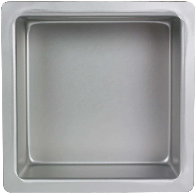 PME SQR084 Square Seamless Professional Aluminum Baking Cake Pan Silver 8 x8 x 4