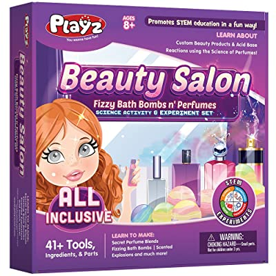 Playz Beauty Salon Perfume & Bath Bomb Arts & Crafts Science Activity & Experiment Gift for Girls Age 8, 9, 10, 11, 12: Toys & Games