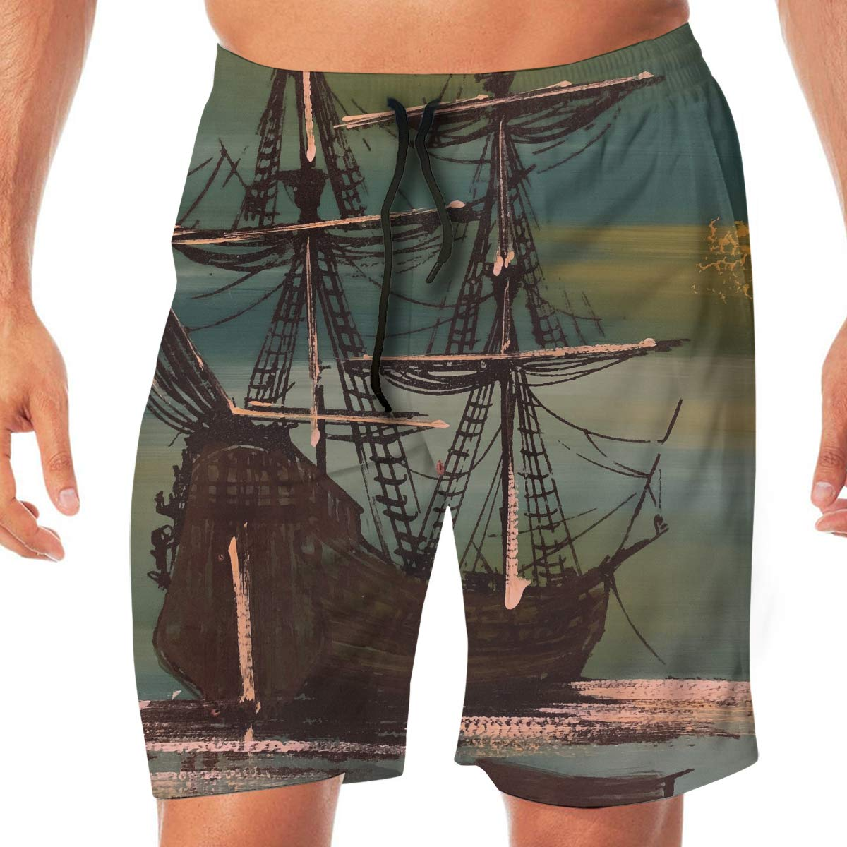 Nautical Vintage Sailing Pirate Ship Quick Dry Elastic Lace Boardshorts Beach Shorts Pants Swim Trunks Swimsuit with Pockets.